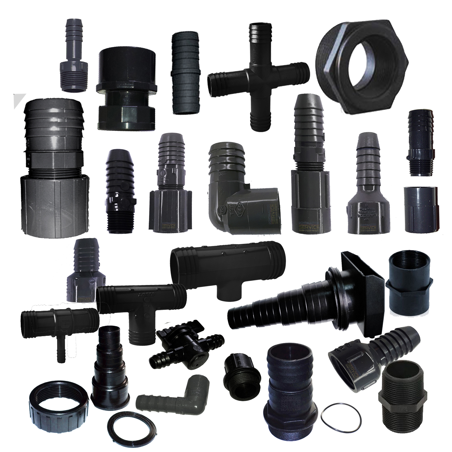 Assorted plumbing fittings and connectors for your pond for Garden pond plumbing design