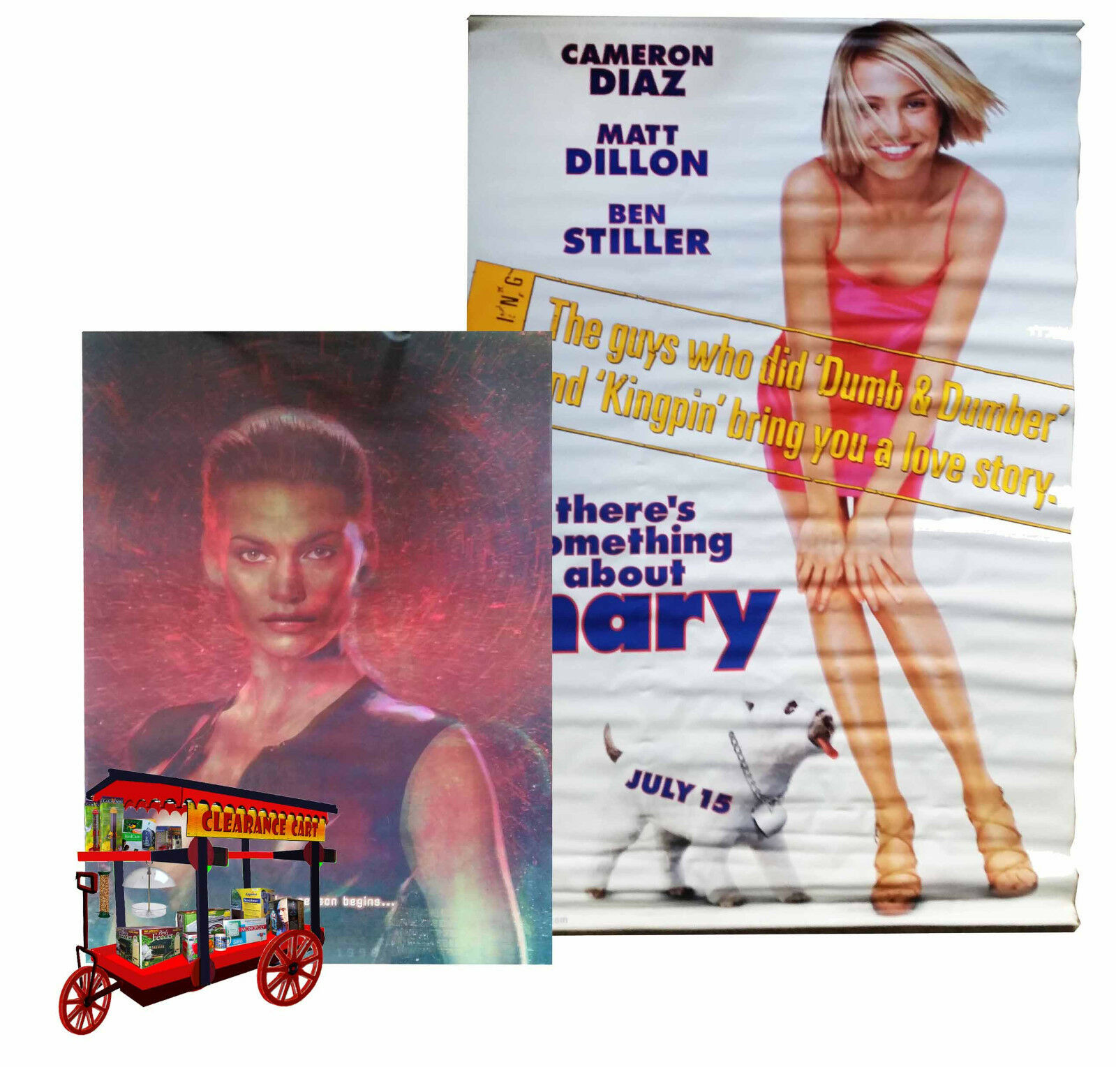 SPECIES II - HOLOGRAPHIC MYLAR POSTER + THERE'S SOMETHING ABOUT MARY - 6' BANNER
