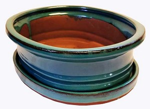 "Michael Carr - 10"" Bonsai Pot - Opal-Blue Flared-Oval with Tray"