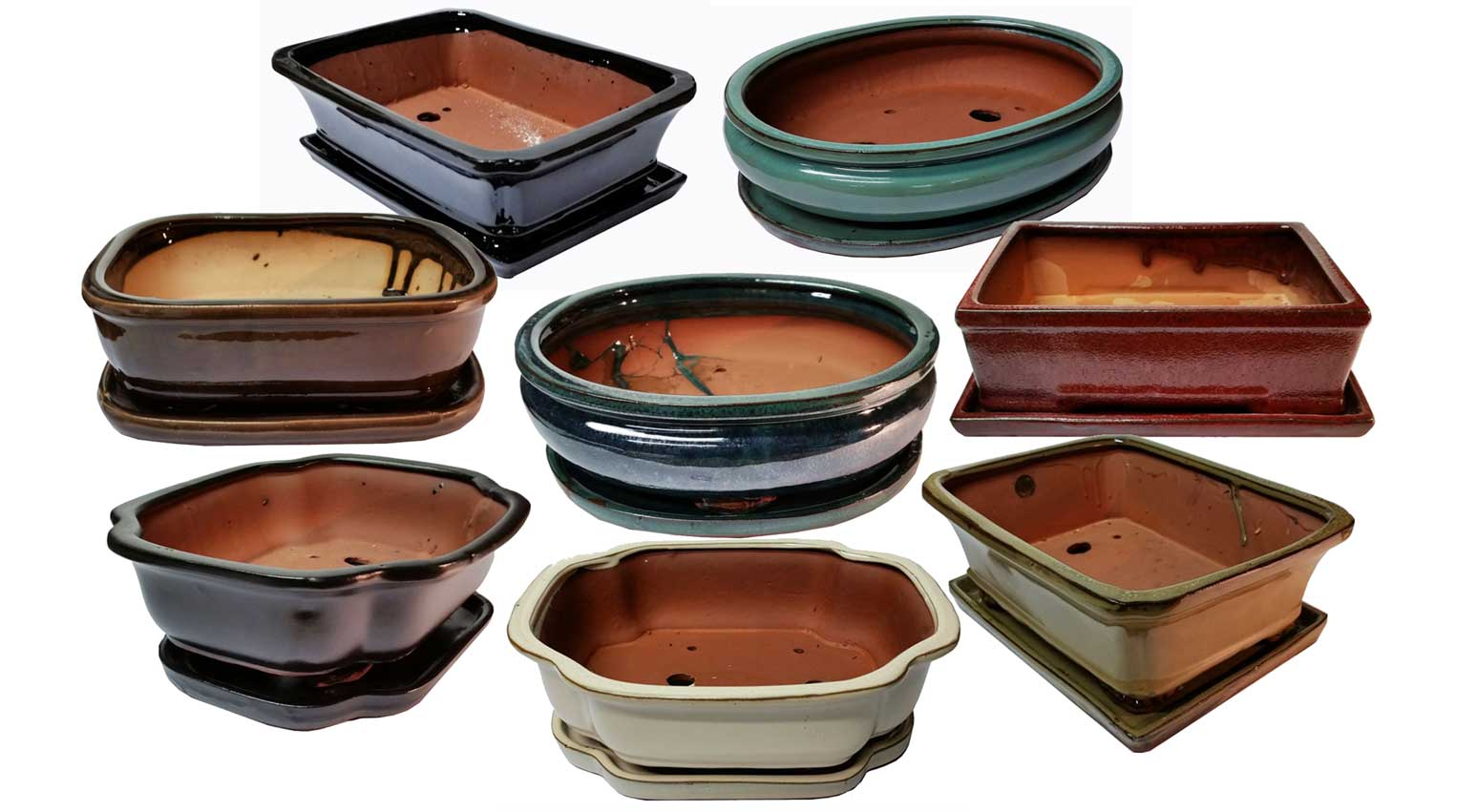 10 Inch Glazed Bonsai Pottery with Detached Trays by Lotus