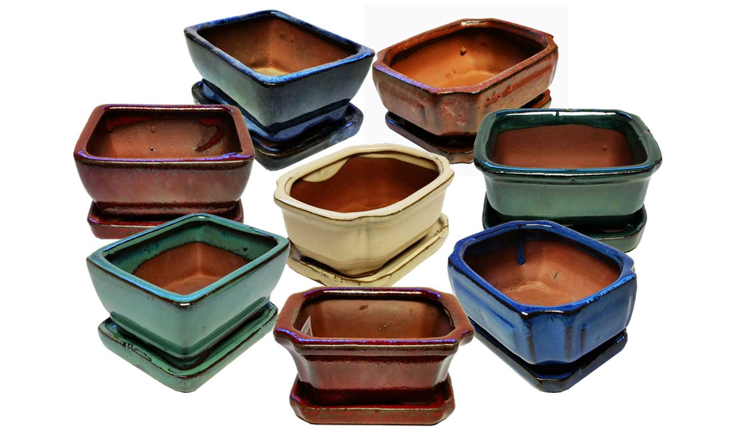 4 Inch Glazed Bonsai Pottery w/ Detached Trays by Lotus