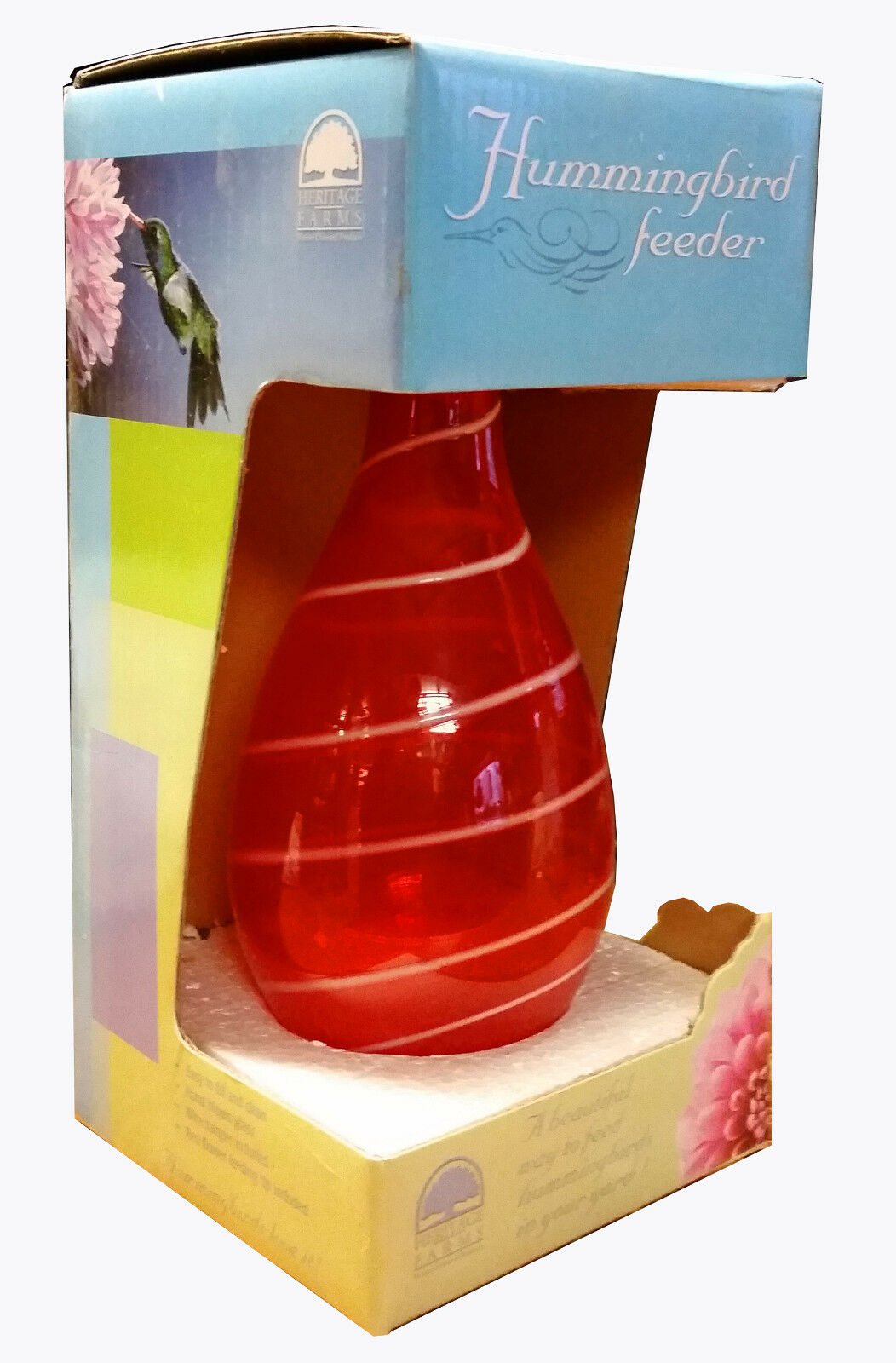 HERITAGE FARMS - RED GLASS HANGING HUMMINGBRD FEEDER (Single Spout)