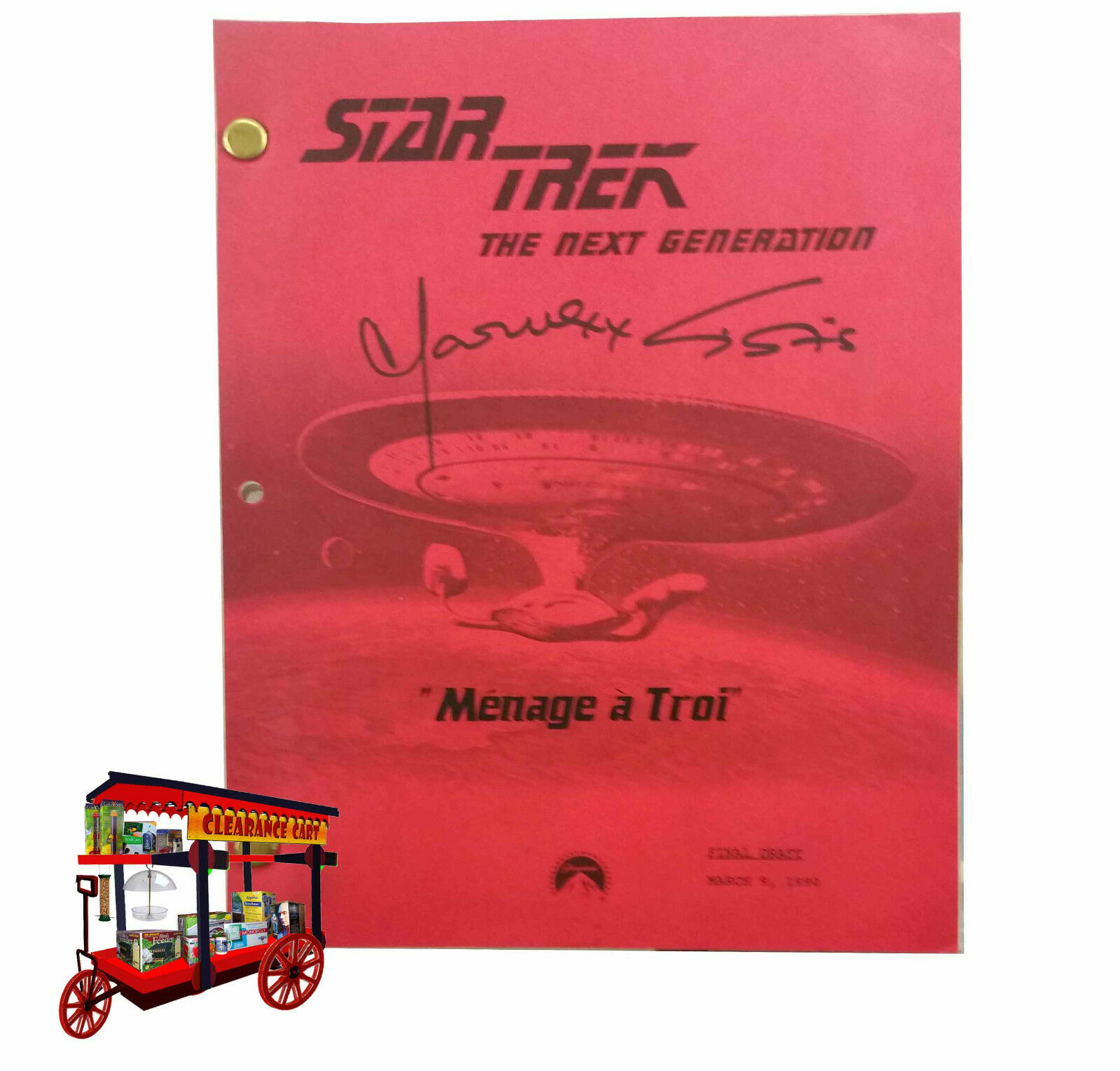 Script STAR TREK TNG 'MENAGE' a TROI' signed by M.Sirtis (TROI)