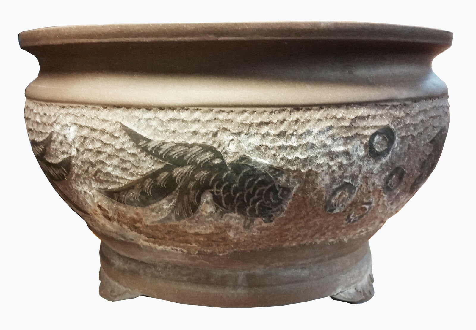 Large 'Purple Clay' Chinese Bonsai Pot w/Koi Relief