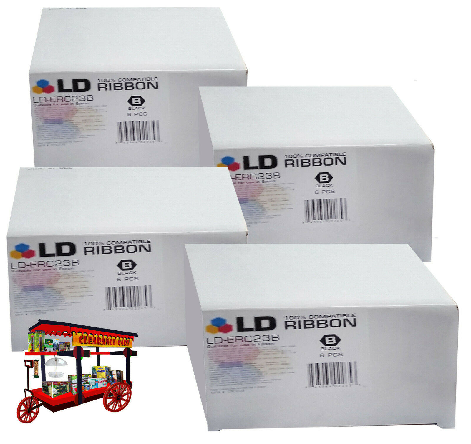 LD-ERC23B - 100% COMPATIBLE ROBBON (4-BOXES OF 6-PCS. EA. / BLACK)